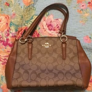 Coach tan and brown handbag